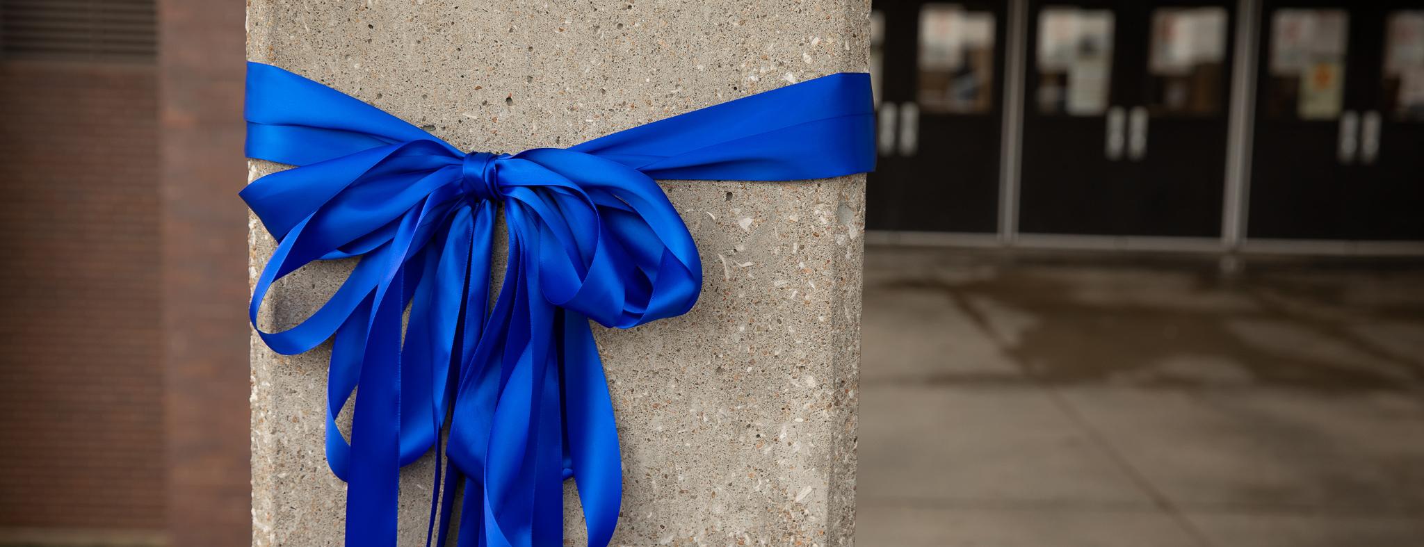 blue ribbon around a post